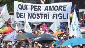 >>>ANSA/ FAMILY DAY, IN PIAZZA CONTRO UNIONI CIVILI PER LA FAMIGLIA